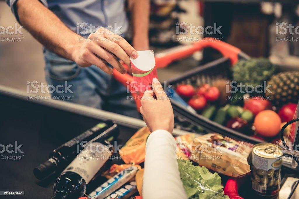 At the supermarket cash desk stock photo