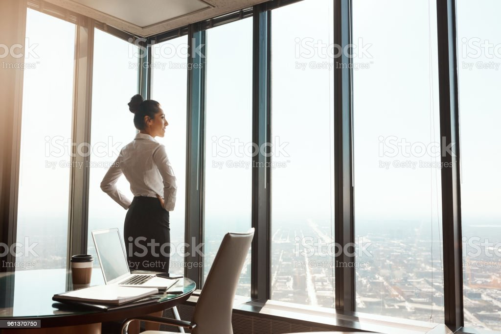 At the top of the business world stock photo