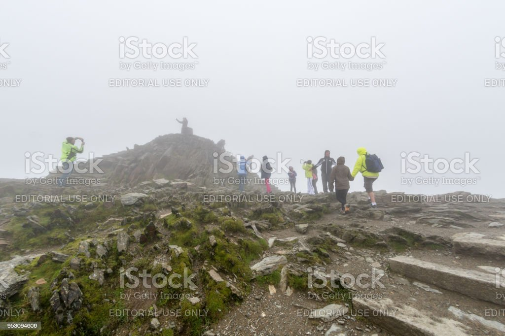 At the very summit of Mount Snowdon in Wales stock photo
