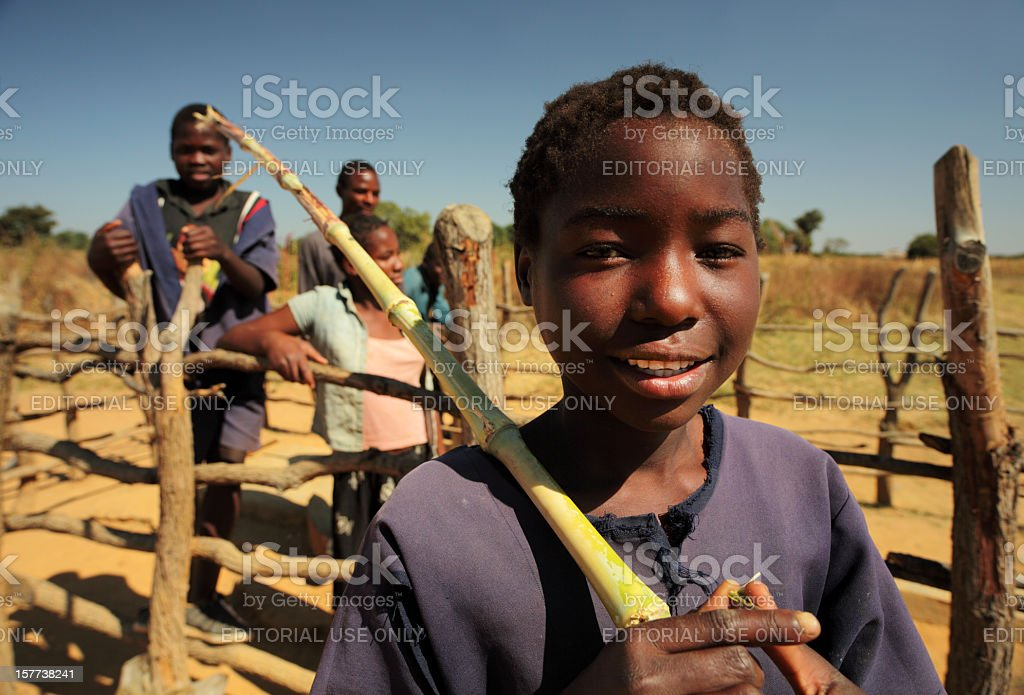 At the water well in Zambia stock photo