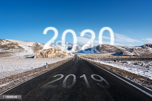 1081389658 istock photo 2020 at the way forward, and 2019 on the road in winter. New Year concept 1188884611