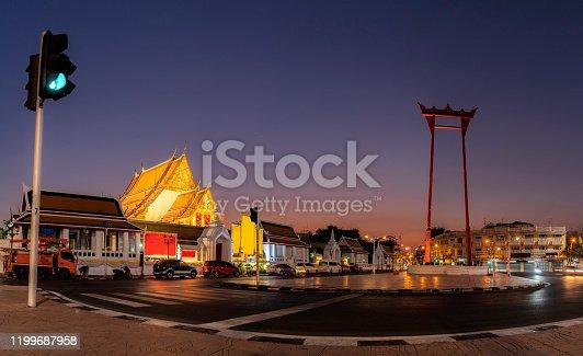 The Giant Swing with Temple of Buddha at dusk ( Sao Ching Cha) at twilight, Bangkok, Thailand.