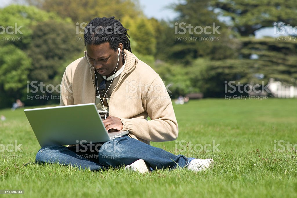 At work in the park. stock photo