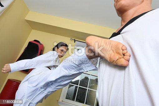 Martial artist kicking a training mannequin.