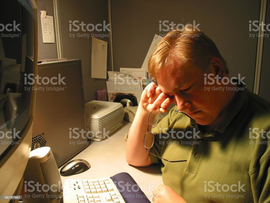 At Work - Tired royalty-free stock photo