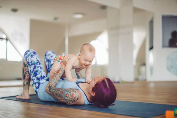 At yoga class stock photo