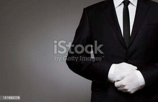 Well dressed man waiting for orders with copy space