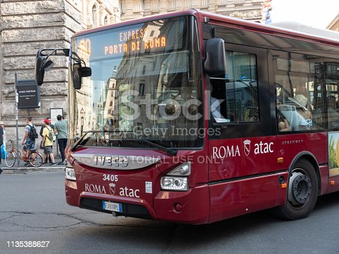 Rome, Italy - August 10, 2018: Atac bus. Tramways Company and Coach of the Municipality of Rome (Atac) is the company that provides public transport in Rome and its surrounding municipalities