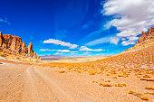 Landscape of Tara salar in Atacama region with a car um background