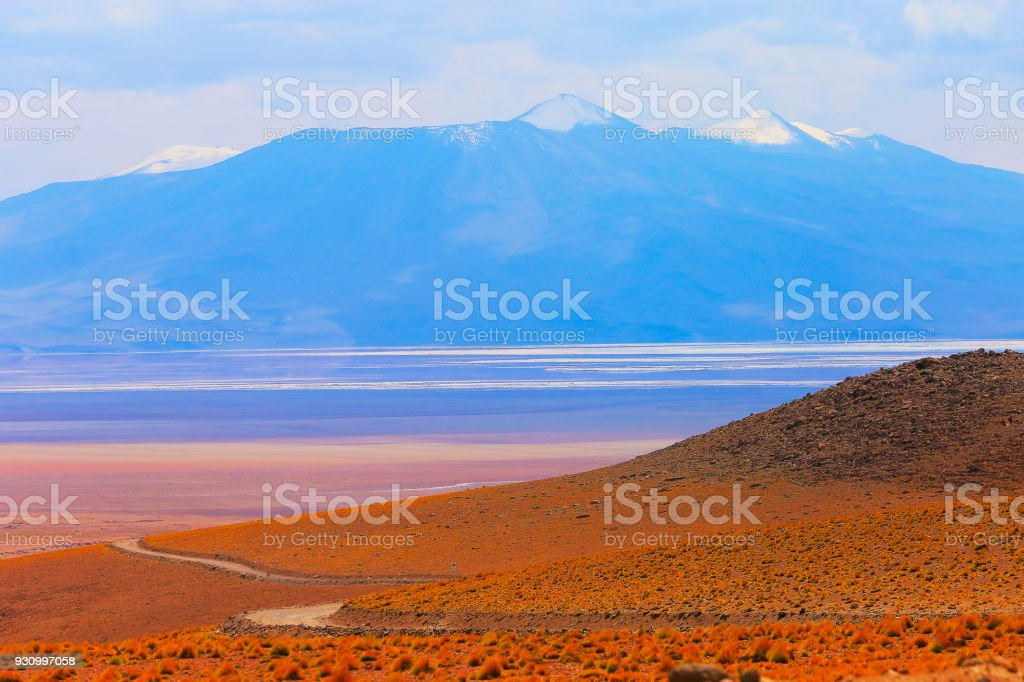 Atacama Desert -  Dirt road to Volcanic landscape, Bolivian Andes - Potosi – Bolivia stock photo
