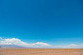 Atacama desert, red sand and blue sky