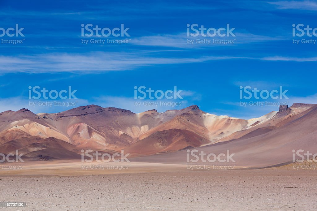 Atacama Mountain with blue sky in Eduardo Avaroa Park stock photo