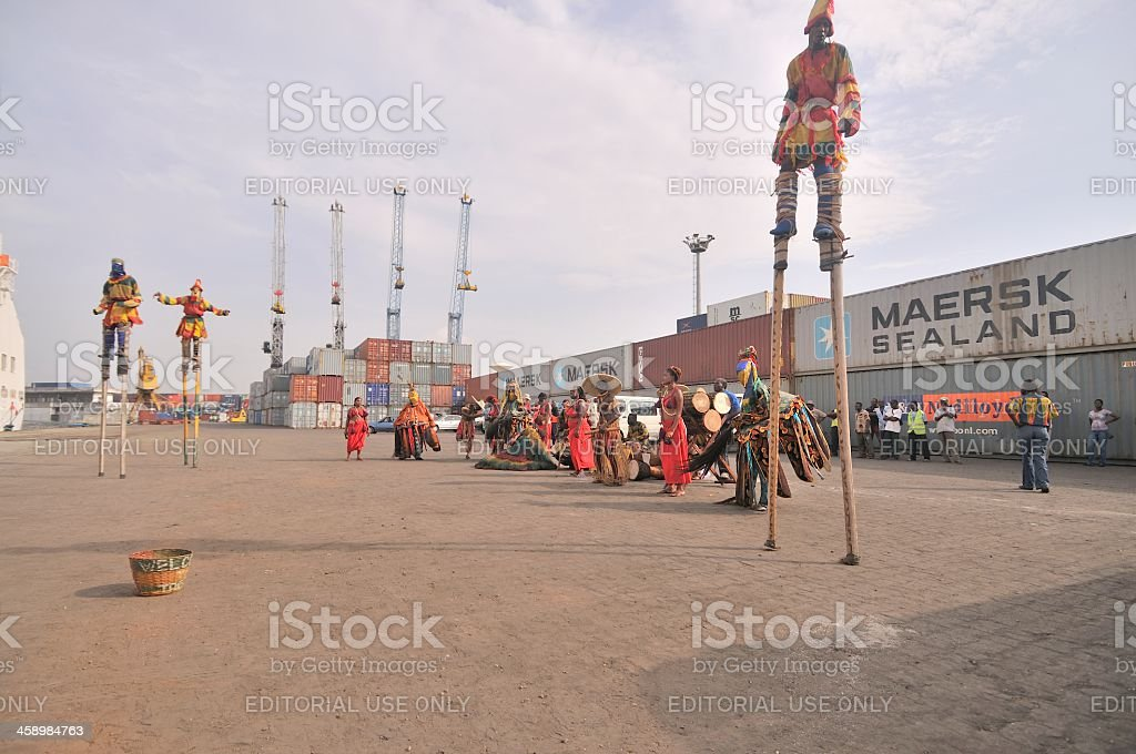 Atakpame Stilt Dancers In Togo stock photo