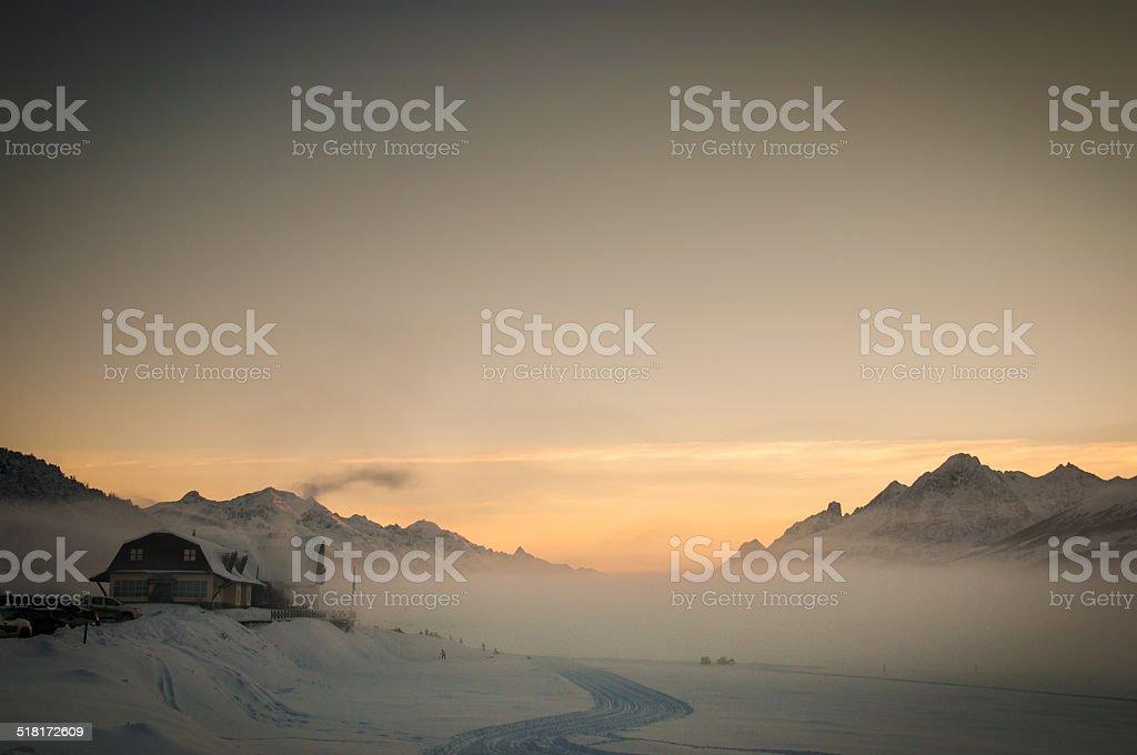 atardecer en ushuaia argentina - foto de stock