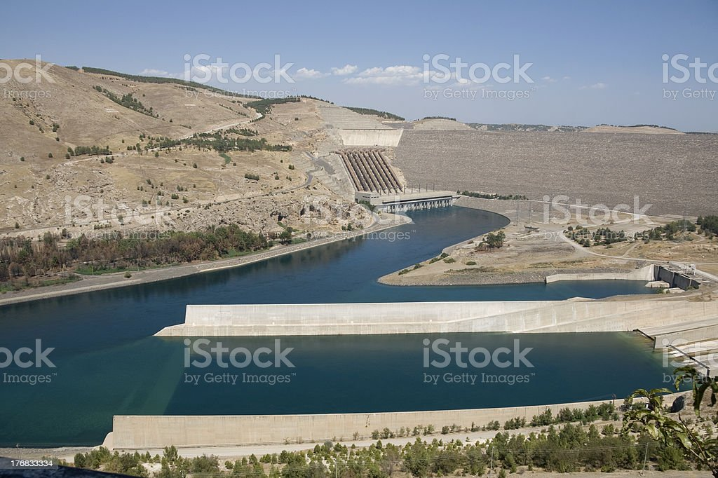 Ataturk Dam on the Euphrates River - Anatolia stock photo