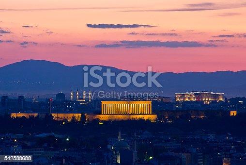 Ankara cityscape with Ataturk Mausoleum in summer time. Anıtkabir (literally,