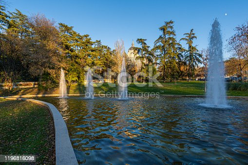 istock Atena's Park fountains with the Almudena Cathedral on the backgroung 1196816098