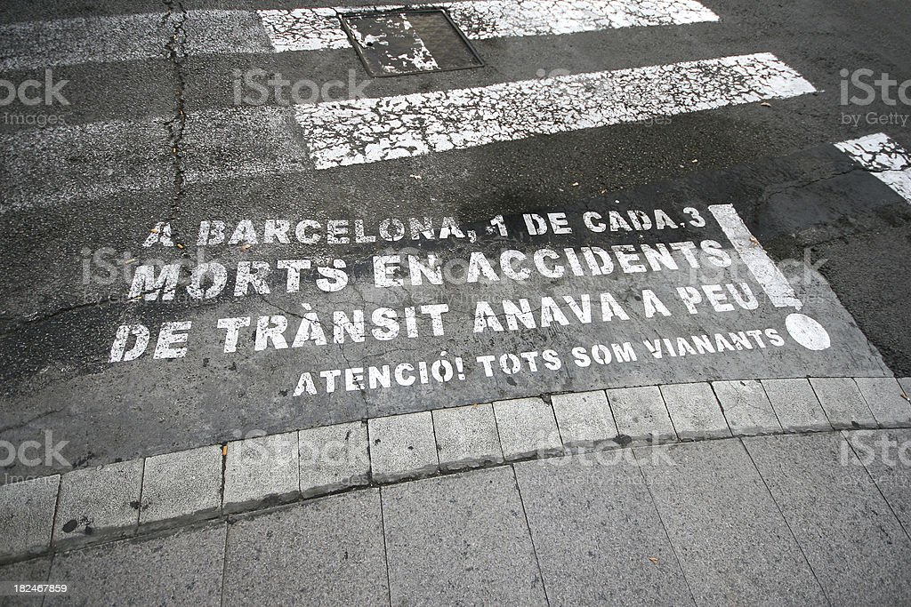 Atention sign on a asphalt road in Spain Barcelona stock photo