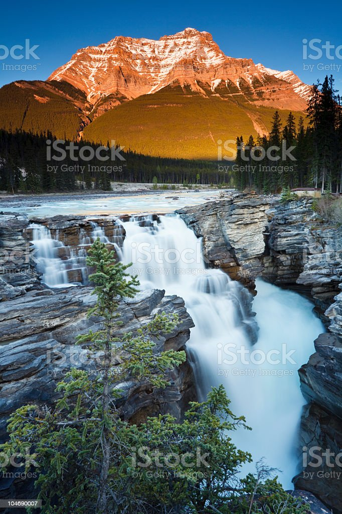Athabasca Falls at Sunset stock photo