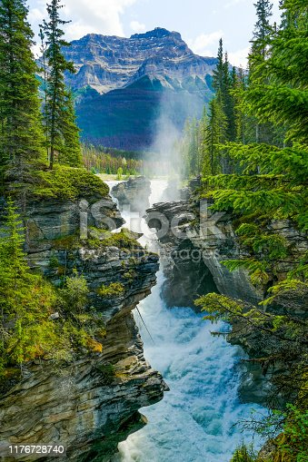 The powerful and picturesque Athabasca Falls tumbles down the gorge it has cut out. This Class 5 waterfall lies on the upper Athabasca River, just west of the Icefields Parkway, in Jasper National Park, Alberta, Canada. Mount Kerskelin lies in the background.