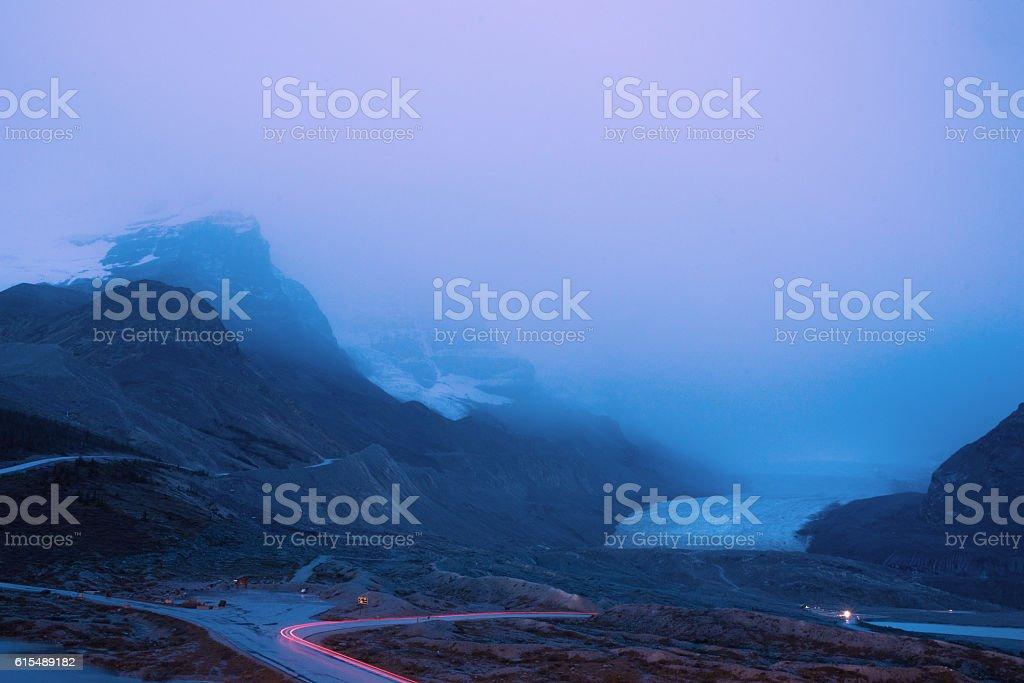 Athabasca Glacier, Canadian Rockies, at night stock photo