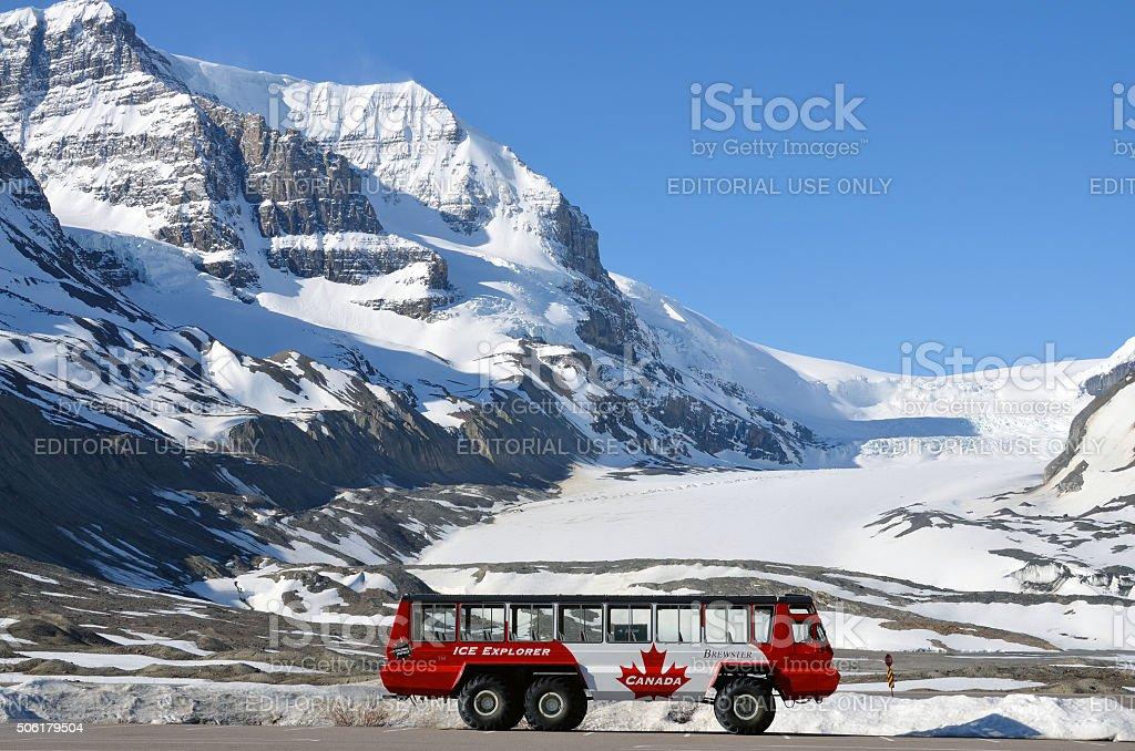 Athabasca Glacier, Columbia Icefield, Ice Explorer stock photo