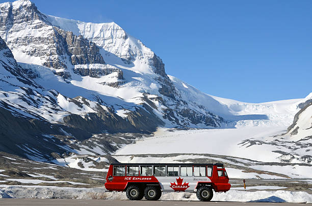 athabasca glacier, columbia icefield, ice explorer - canada travel stock photos and pictures