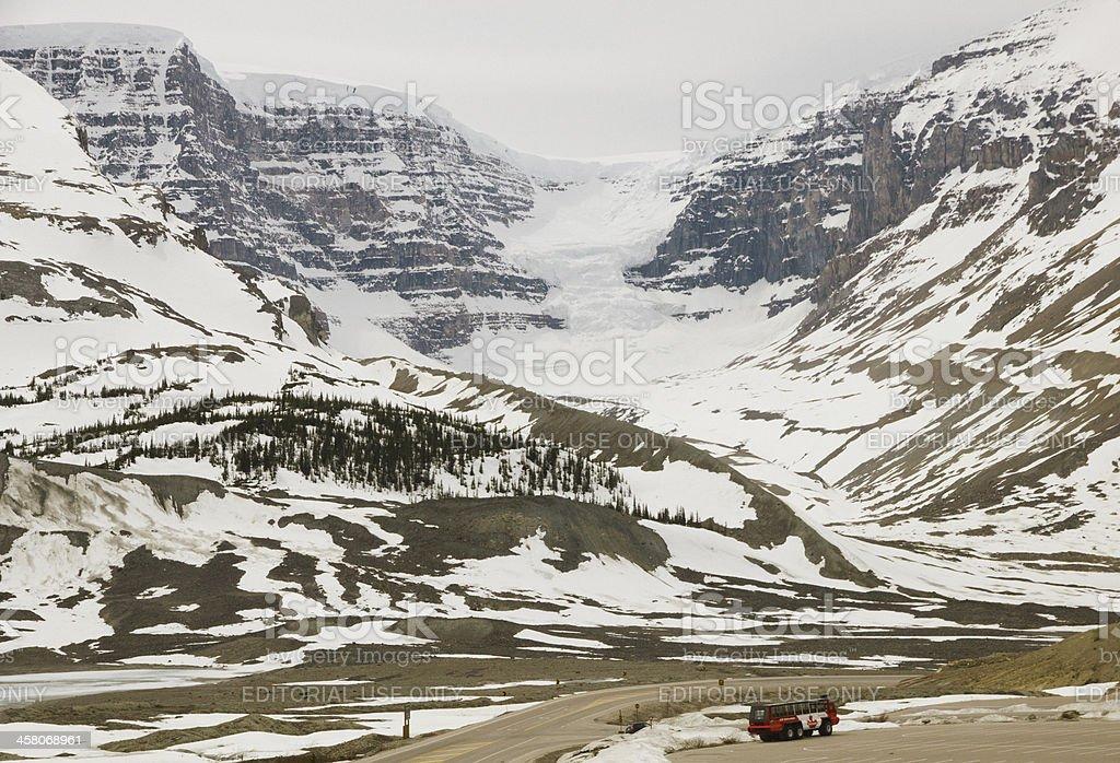 Athabasca Glacier in the Columbia Icefields Near Jasper Alberta stock photo