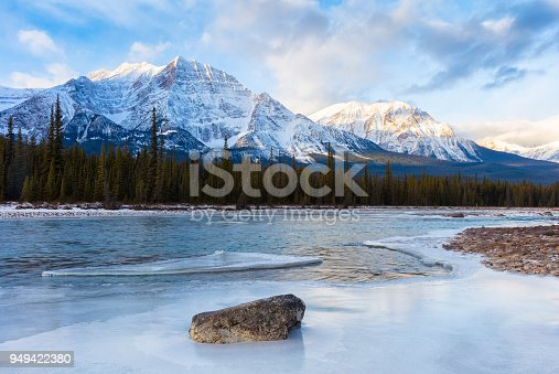Athabasca River in Winter Jasper National Park Alberta, Canada