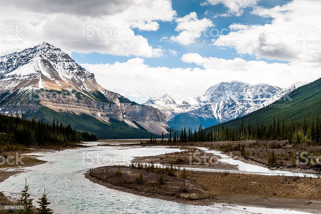 Athabasca River close view with  Columbia Icefield stock photo