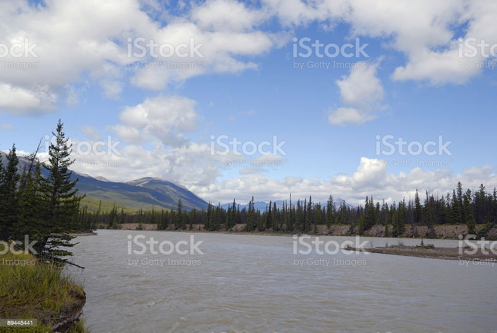 Athabasca River in Jasper National Park, Canadian Rockies royalty-free stock photo