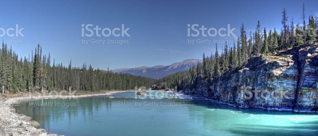 Athabasca River panoramic view, Jasper National Park, Alberta, Canada. stock photo