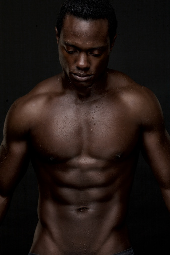 Atheletic African American Man Topless Stock Photo