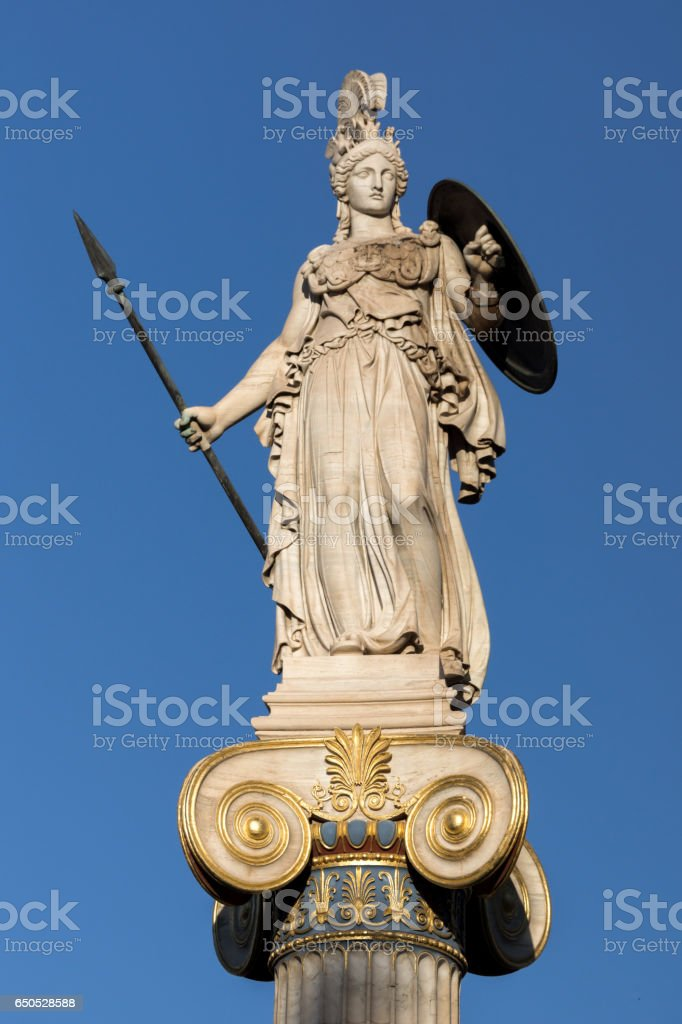 Athena goddess statue in front of Academy of Athens, Greece stock photo