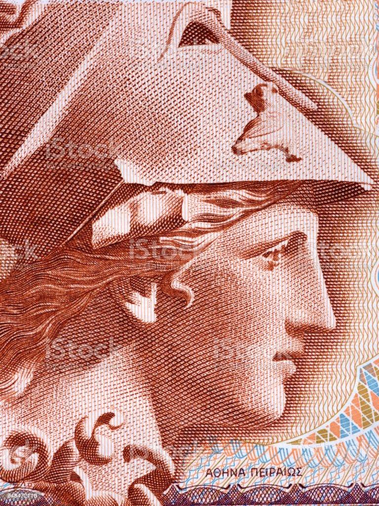Athena portrait from Greek money stock photo