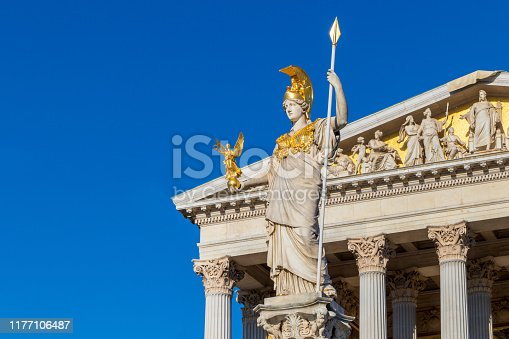 istock Athena statue at the front of Austrian parliament building in Vienna 1177106487