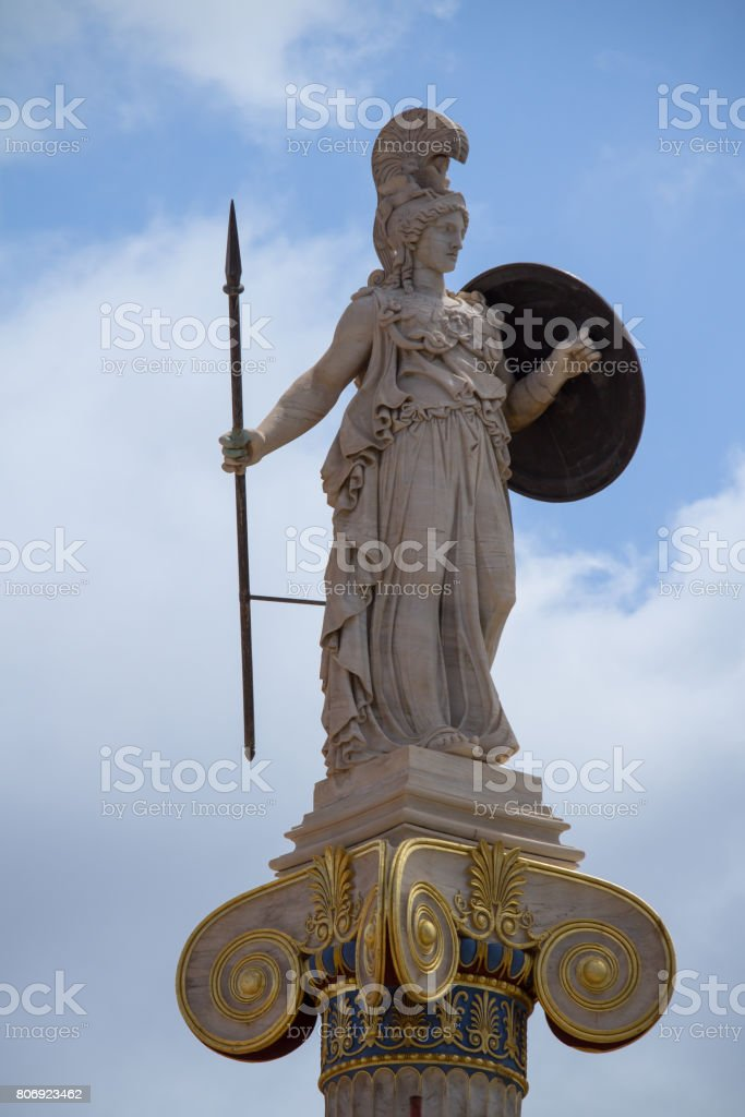Athena statue, goddess of philosophy and wisdom stock photo