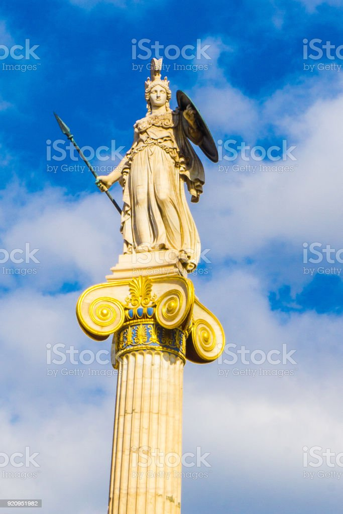 Athena statue, greek godess of wisdom in the Academy of Athens in Greece stock photo