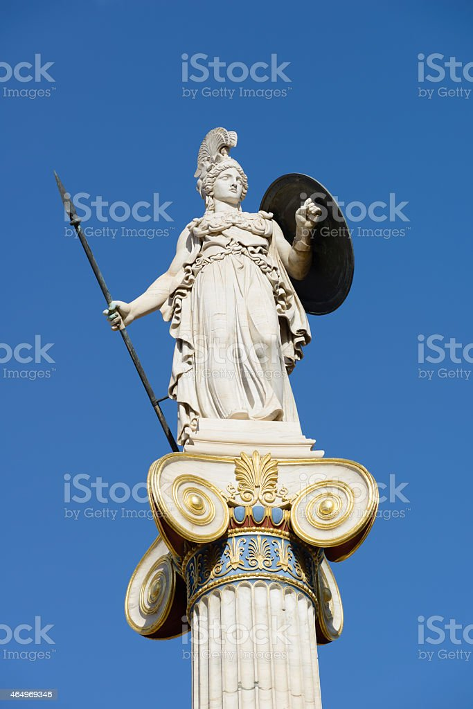 Athena Statue in city of Athens stock photo