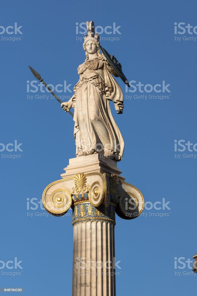 Athena statue in front of Academy of Athens, Greece stock photo