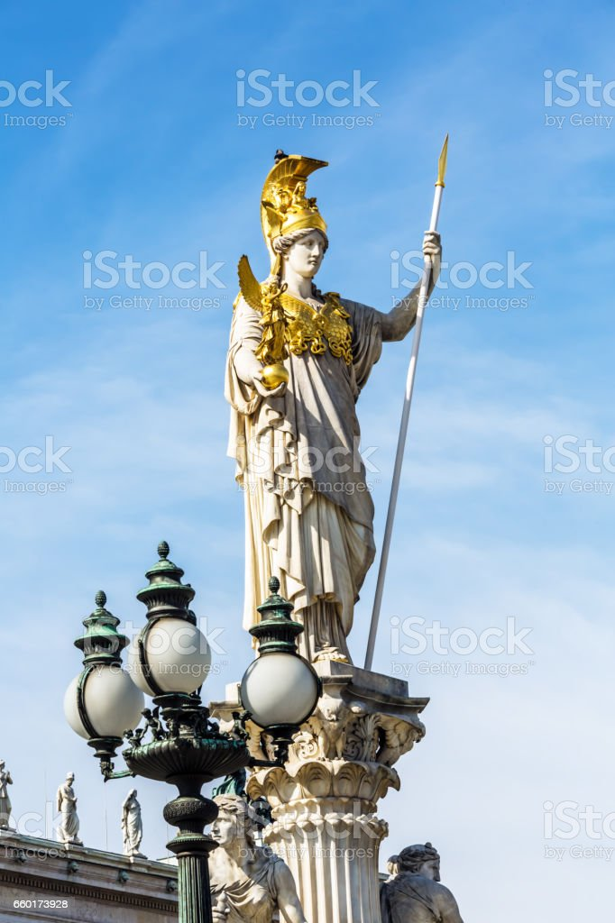 Athena statue in Vienna stock photo