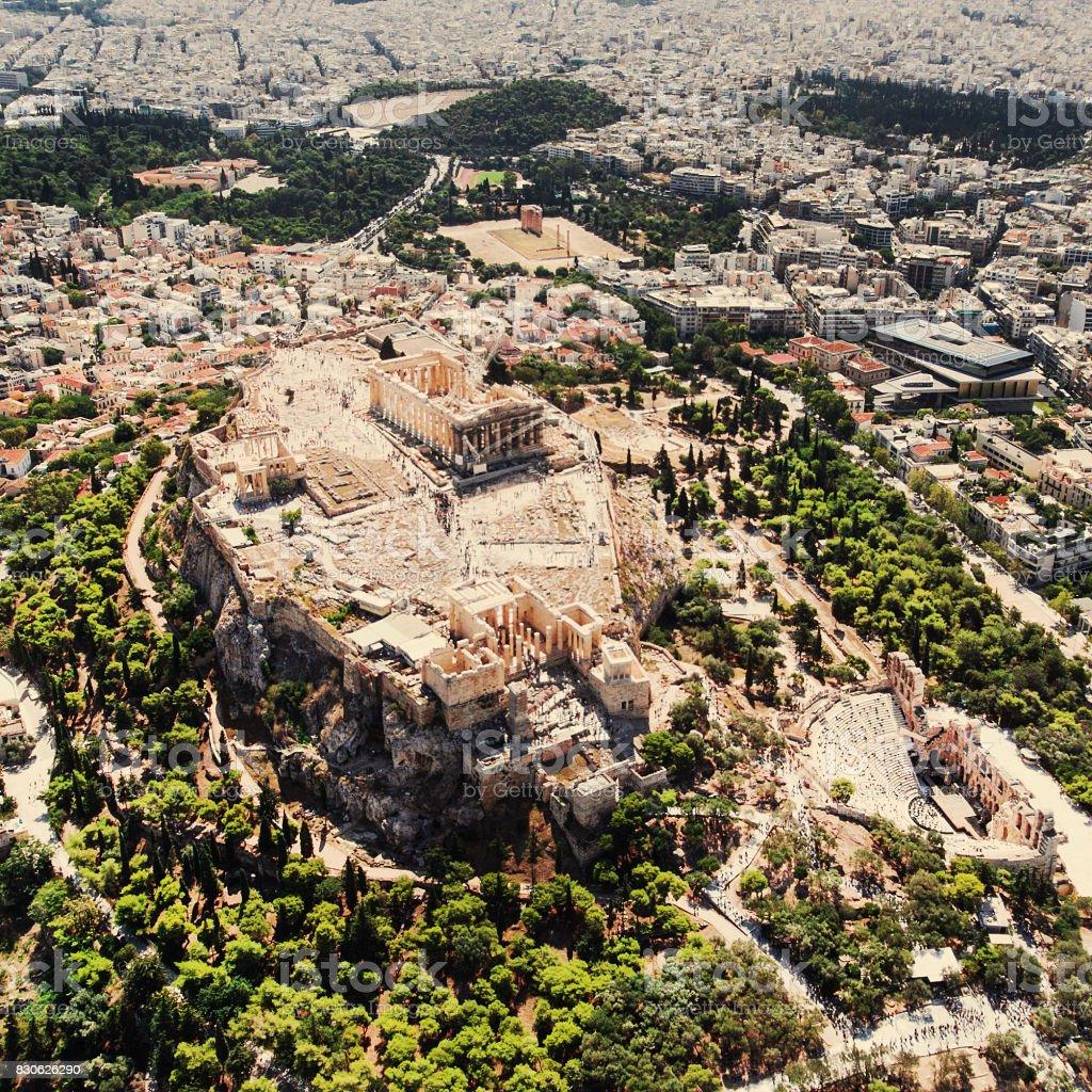 Luchtfoto van de Akropolis van Athene foto
