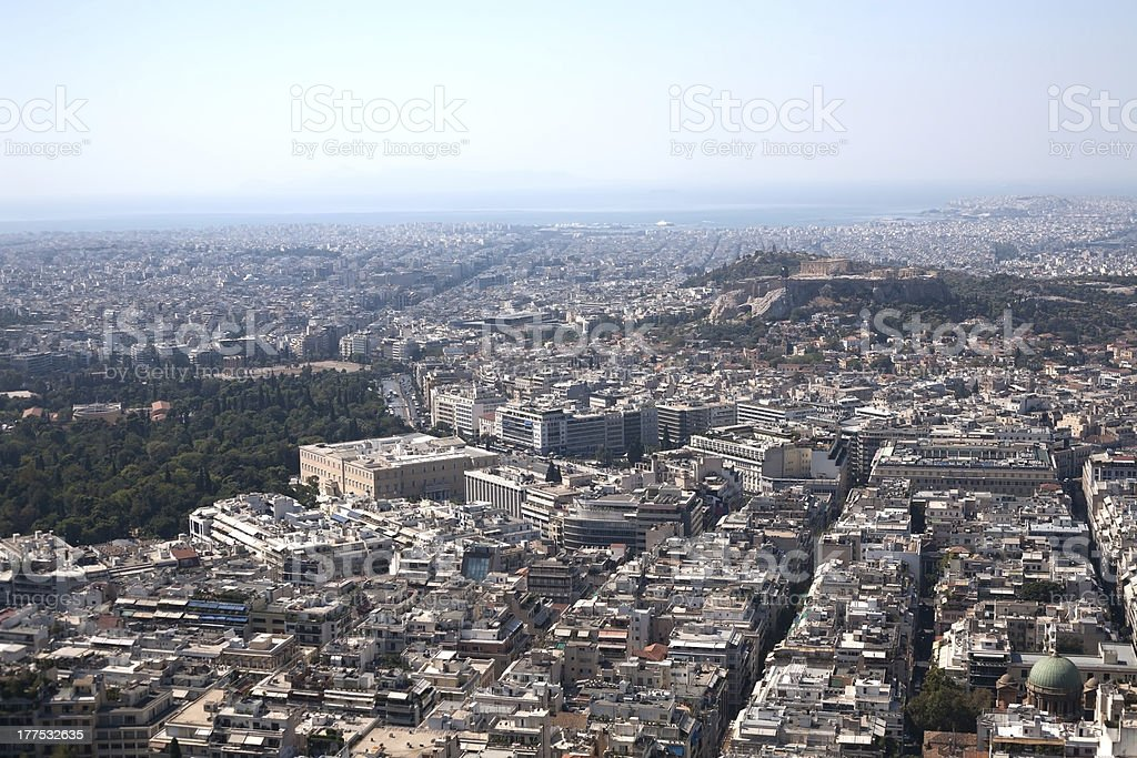 Athens - Acropolis and parliament from above royalty-free stock photo