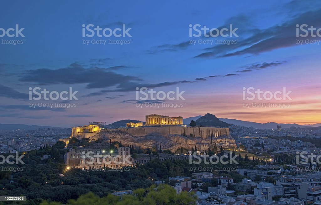 Athens Acropolis at dawn stock photo