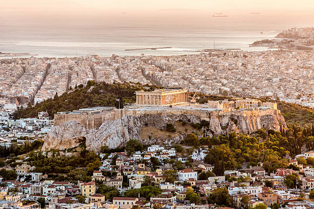Athens Acropolis at Sunset Greece stock photo