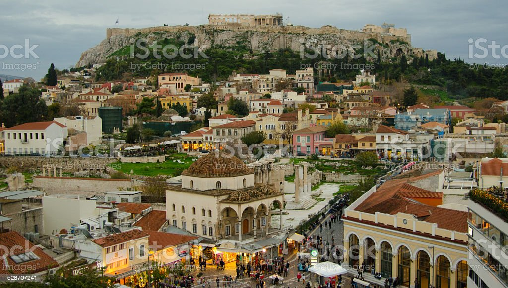Athens Acropolis at twilight stock photo