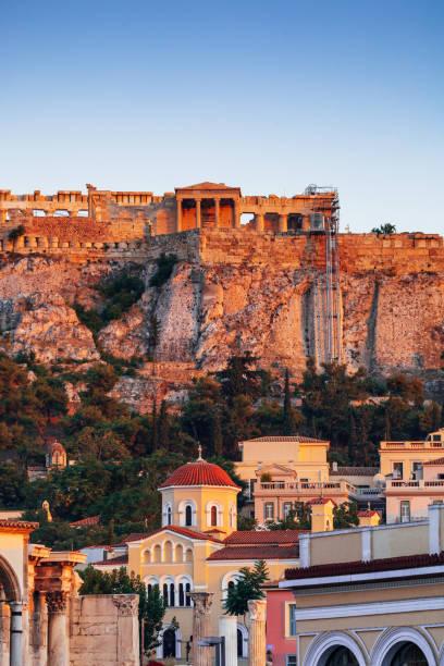 Athens at sunset time, Greece stock photo