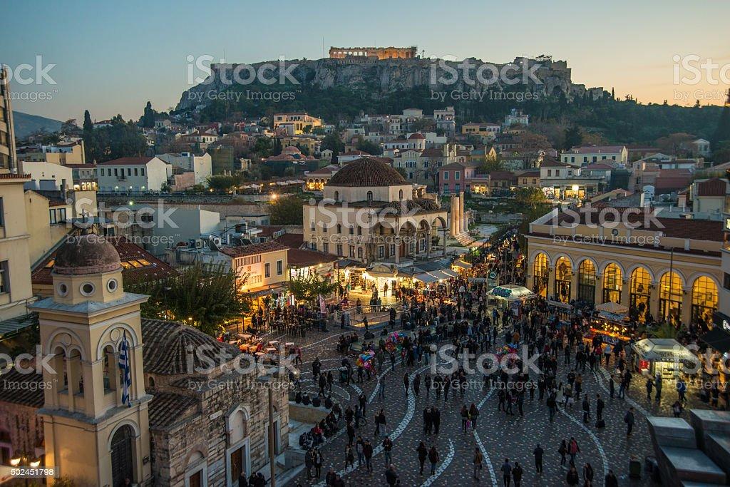 Athens at twilight stock photo
