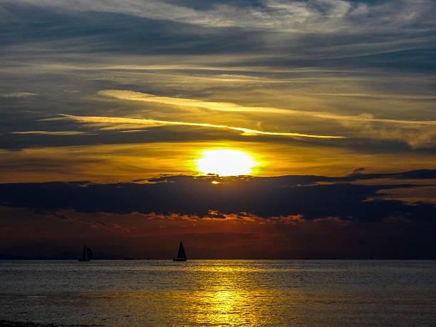 Athen's Beach Beautiful Sunset stock photo