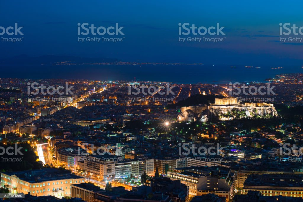 Athens by Night, View from Licabetto Hill stock photo